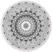 The White Mandala No. 2 Round Beach Towel