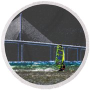 The Wind Surfer Round Beach Towel by David Lee Thompson