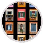 The Windows Of Venice Round Beach Towel
