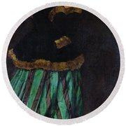 The Woman In The Green Dress Round Beach Towel