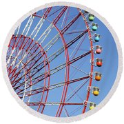 The Wonder Wheel At Odaiba Round Beach Towel