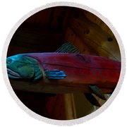 The Wooden Rainbow Trout Round Beach Towel