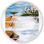 The World On A Platter  Round Beach Towel