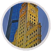 The Wrigley Building Round Beach Towel