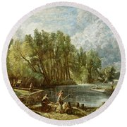 The Young Waltonians - Stratford Mill Round Beach Towel by John Constable