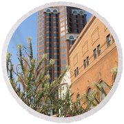 Theater District And City Flowers Round Beach Towel