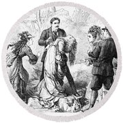 Theater: False Shame, 1872 Round Beach Towel