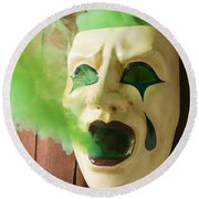 Theater Mask Spewing Green Smoke Round Beach Towel