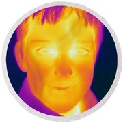 Thermogram Of A Boy Round Beach Towel