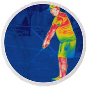 Thermogram Of A Golfer Round Beach Towel