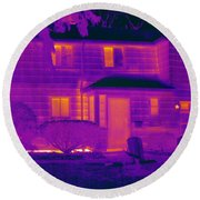 Thermogram Of A Home In Winter Round Beach Towel