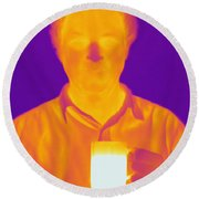 Thermogram Of A Man Round Beach Towel