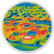 Thermogram Of A Parking Lot Round Beach Towel