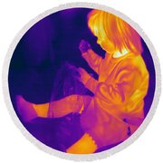 Thermogram Of A Young Girl Round Beach Towel