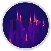 Thermogram Of Candles Round Beach Towel