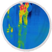 Thermogram Of Students At A Locker Round Beach Towel