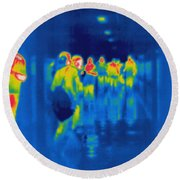 Thermogram Of Students In A Hallway Round Beach Towel