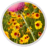 Thistle And Coreopsis 2am-110455 Round Beach Towel