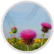 Thistle And Sunflower 2am-110468 Round Beach Towel