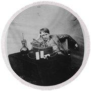Thomas Edison, American Inventor Round Beach Towel