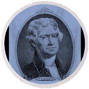 Thomas Jefferson In Cyan Round Beach Towel