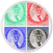 Thomas Jefferson In Negative Colors Round Beach Towel