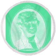 Thomas Jefferson In Negative Green Round Beach Towel