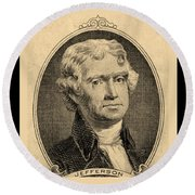 Thomas Jefferson In Sepia Round Beach Towel