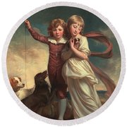 Thomas John Clavering And Catherine Mary Clavering Round Beach Towel by George Romney