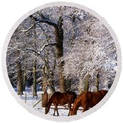 Thoroughbred Horses, Mares In Snow Round Beach Towel