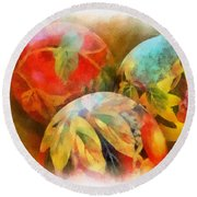 Three Balls - Watercolor Round Beach Towel