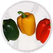 Three Bell Peppers Round Beach Towel