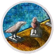 Three Birds Blue Round Beach Towel