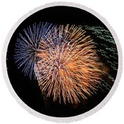 Three Bursts Of Fireworks Four July Two K Ten Round Beach Towel