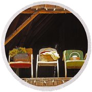 Three Chairs With A View Round Beach Towel