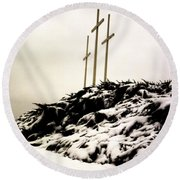 Three Crosses Round Beach Towel