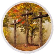 Three Crosses Round Beach Towel