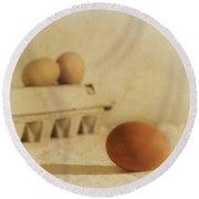Three Eggs And A Egg Box Round Beach Towel