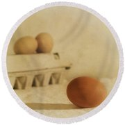 Three Eggs And A Egg Box Round Beach Towel