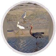 Three Egrets Round Beach Towel