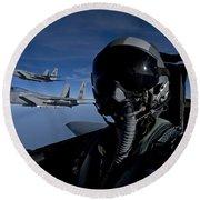 Three F-15 Eagles Fly High Round Beach Towel