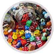 Three Jars Of Buttons Dice And Marbles Round Beach Towel