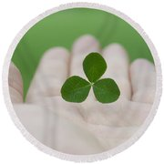 Three Leaf Clover Round Beach Towel