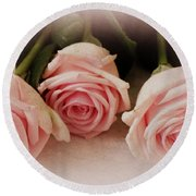 Three Pink Roses Round Beach Towel
