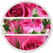 Three Pink Roses Landscape Round Beach Towel