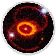Three Rings Of Glowing Gas - Supernova Round Beach Towel