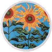 Three Sunflowers IIi Round Beach Towel
