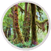 Through Moss Covered Trees Round Beach Towel