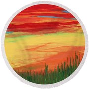 Through The Looking Grass Round Beach Towel