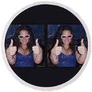 Thumbs Up - Gently Cross Your Eyes And Focus On The Middle Image Round Beach Towel